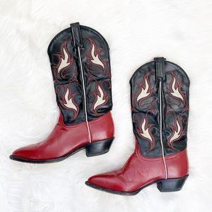 Tony Lama red and black Cowboy Western boots 7.5B